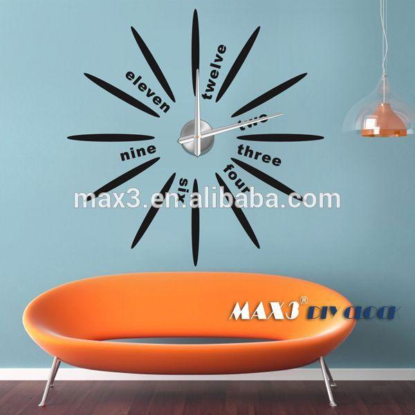 Unique 12 Zodiac Large DIY 3D Wall Clock Home Decor Mirror Sticker