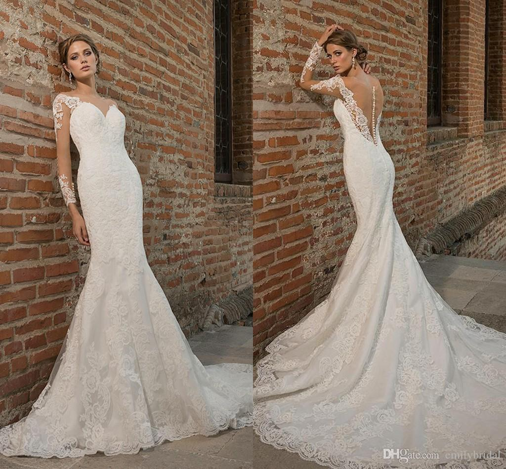 Lace Long Sleeves Wedding Dresses 2016 Sheer Neck White