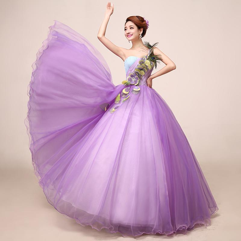 100%real Light Purple Peacock Feather Ball Gown Medieval Dress ...