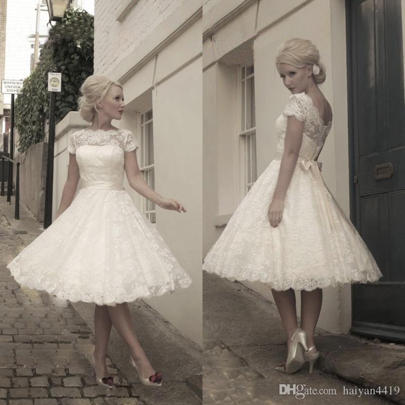 Discount 50s style retro wedding dresses 2016 short for 50 s style short wedding dresses