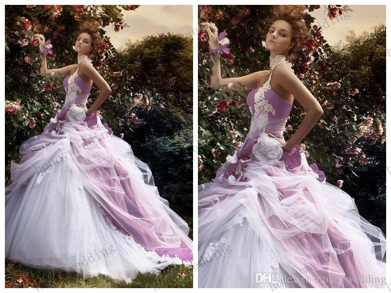 Romantic Ball Gown 2015 Wedding Dresses Purple White Tulle Lace ...