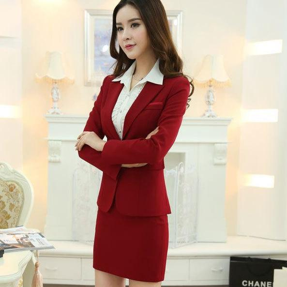 Red Womens Suits Blazer with Skirt New 2015 Elegant Women Business ...