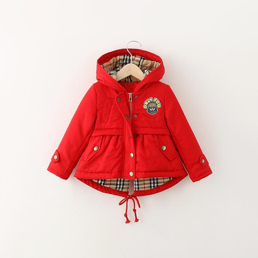 Hot Sale Winter Kid's Coat Girls Fleece Lined Parka Hooded Puffer ...
