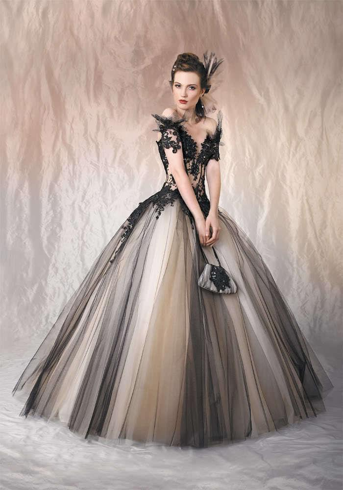 2016 sexy gothic wedding dresses black and champagne off for Black gothic wedding dress