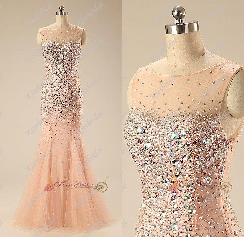2015 Fascinating Rhinestone Blush Pink Mermaid Prom Dresses Scoop ...