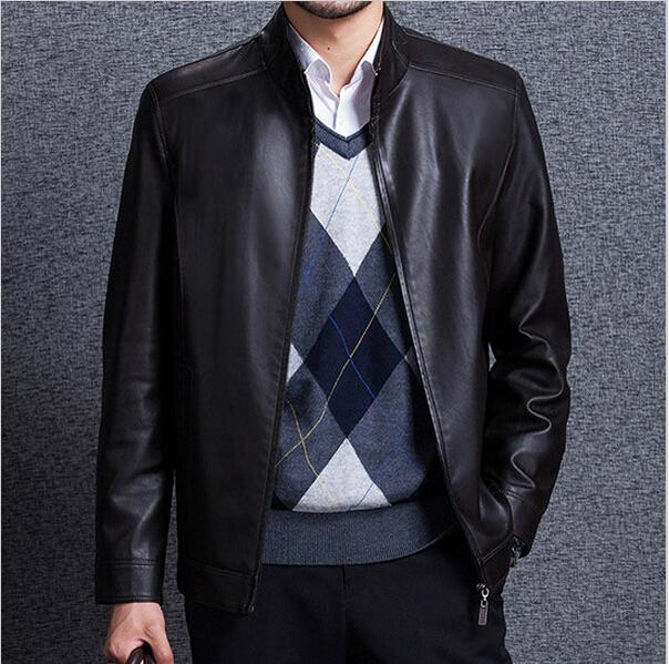 2015 Men Formal Dress Leather Coat Big Size 3XL Black Color Male ...