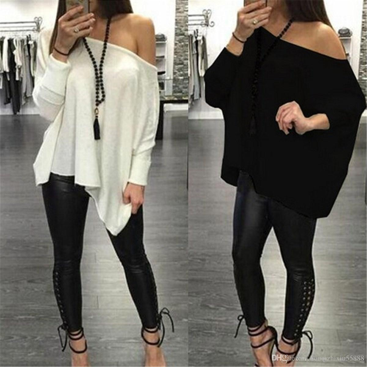Design your own t-shirt long sleeve -  Women T Shirt Off Shoulder Long Sleeve Asymmetry Loose Tops Shirts Sexy Solid Black White Tee Femme Long Sleeve Tee Shirts Design Your Own T Shirts From