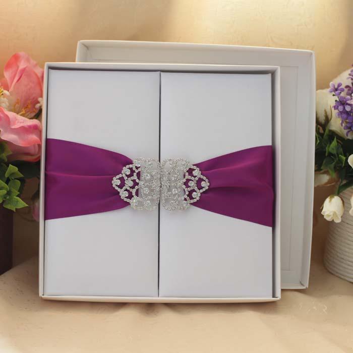 Royal Silk Wedding Invitation Card With Purple Silk Ribbon And – Royal Wedding Invitation Cards