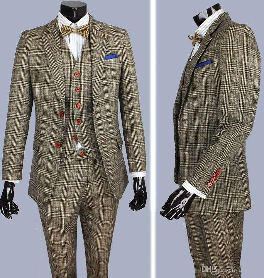 Retro Brown Plaid Groom Tuxedos Custom Made Slim Fit Wedding Suits ...