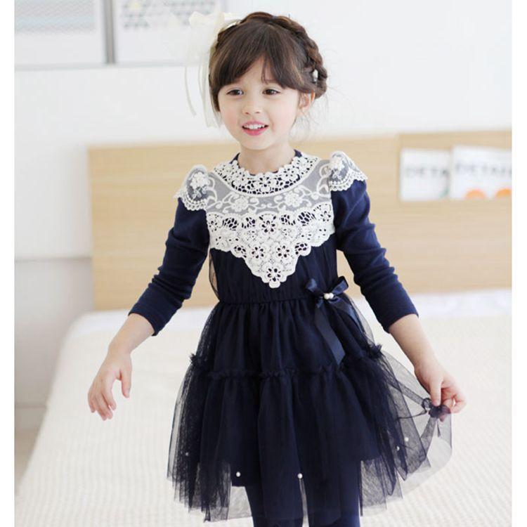 2017 2015 Spring Autumn Korean Fashion Girl Flower Dress Cotton With Lace Sides Bow Girl Party