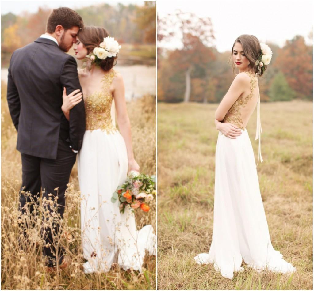 Gold beaded wedding dress modest designer sheer backless for Gold vintage wedding dresses