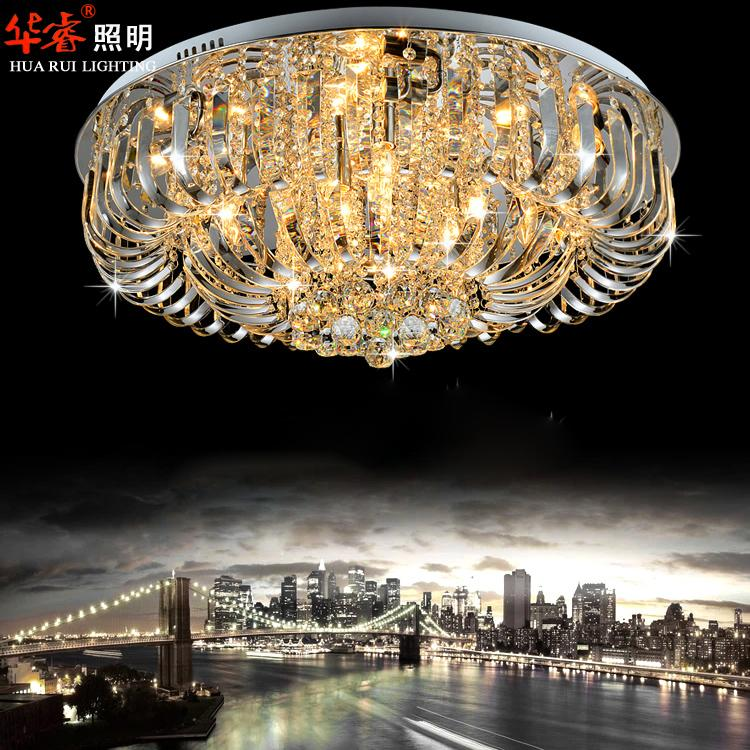 Contemporary Round Crystal Chandeliers Surface Mount Ceiling Lamp
