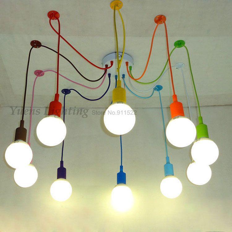 Discount E27 Spider Colored Pendant Lighting Children'S ...