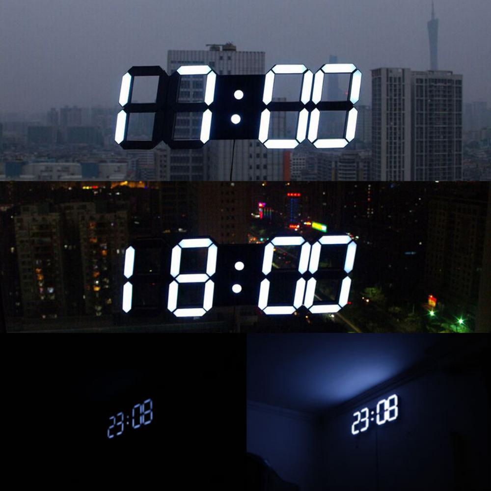 3d digital wall clock large electronic led modern design in living