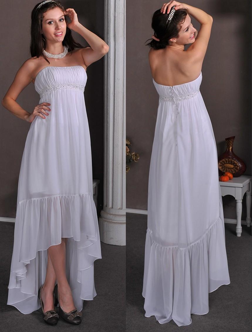Cheap Hi Lo Tea Length Maternity Wedding Dresses Strapless Ruched Chiffon Informal Beach Wedding