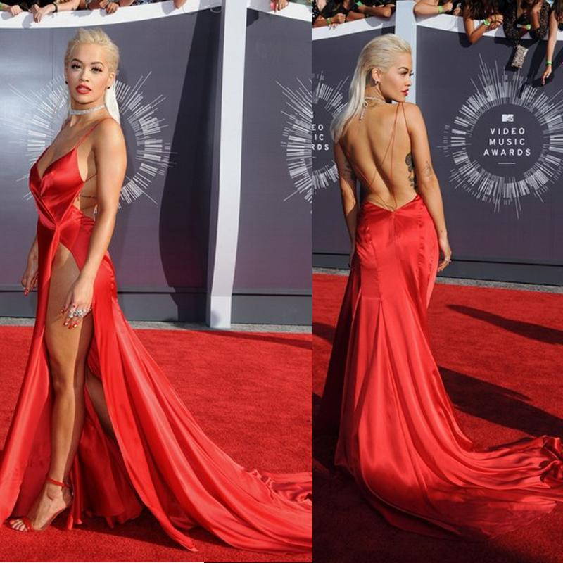 Custom Rita Ora Sexy Red Evening Dresses Spaghetti Straps Bold ...
