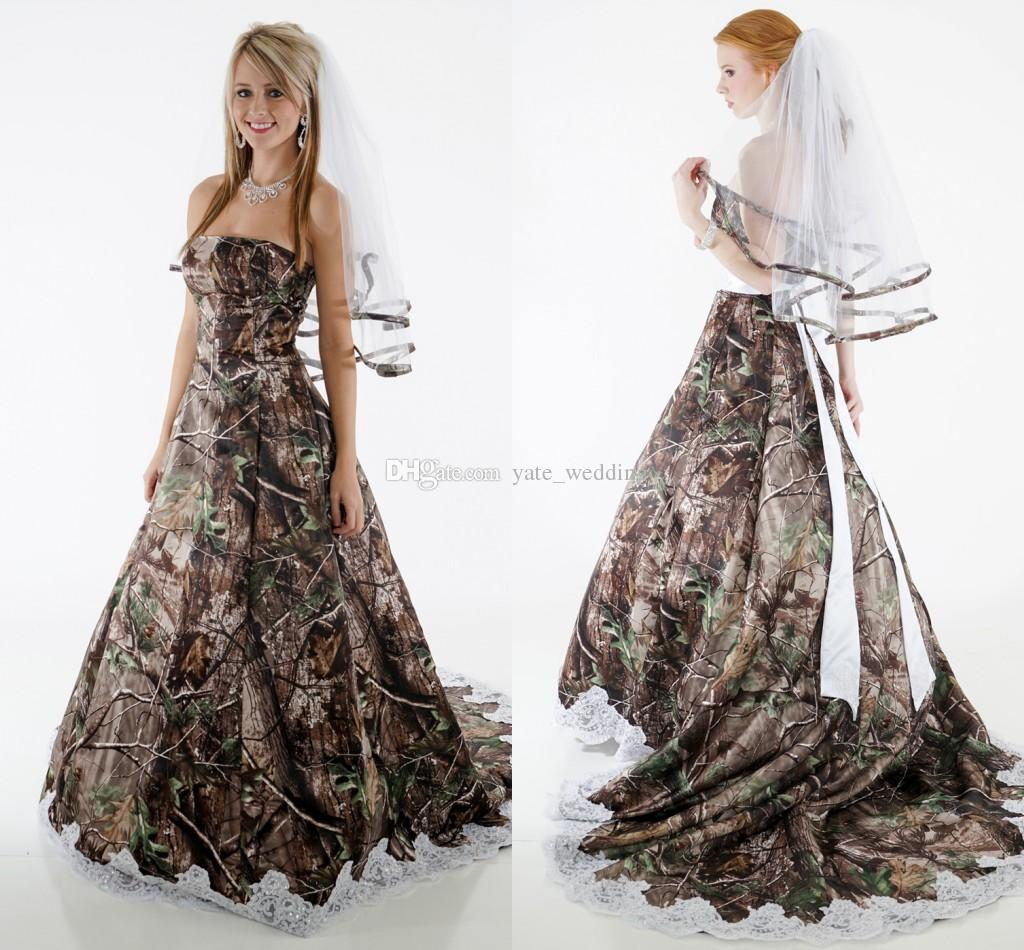 Elegant Camo Wedding Dresses Strapless Appliques Fluffy