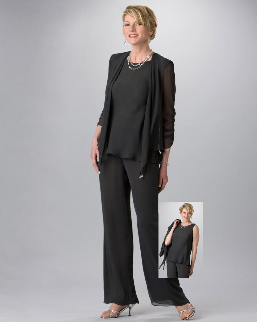Black Mother Of Bride Pant Suit Cheap Handmade Chiffon Open Long Sleeve Semi Formal Wear Long ...