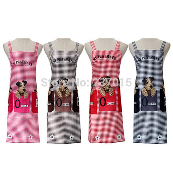 discount new cute dogs checked pattern 2 patch pockets bib aprons