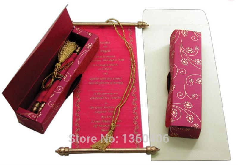 scroll wedding invitations card wholesale party wedding india rose red luxury wedding invitations with box