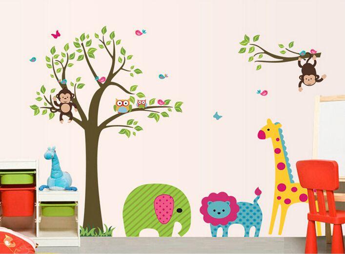 Cartoon Animals Tree Stickers Children Room Decoration