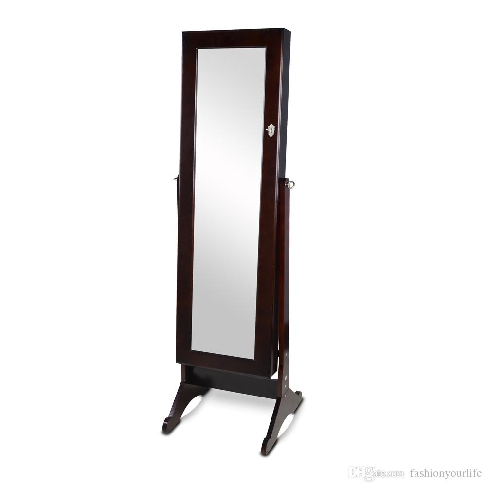 2016 dark brown full length dressing mirror wooden jewelry for Dressing armoire