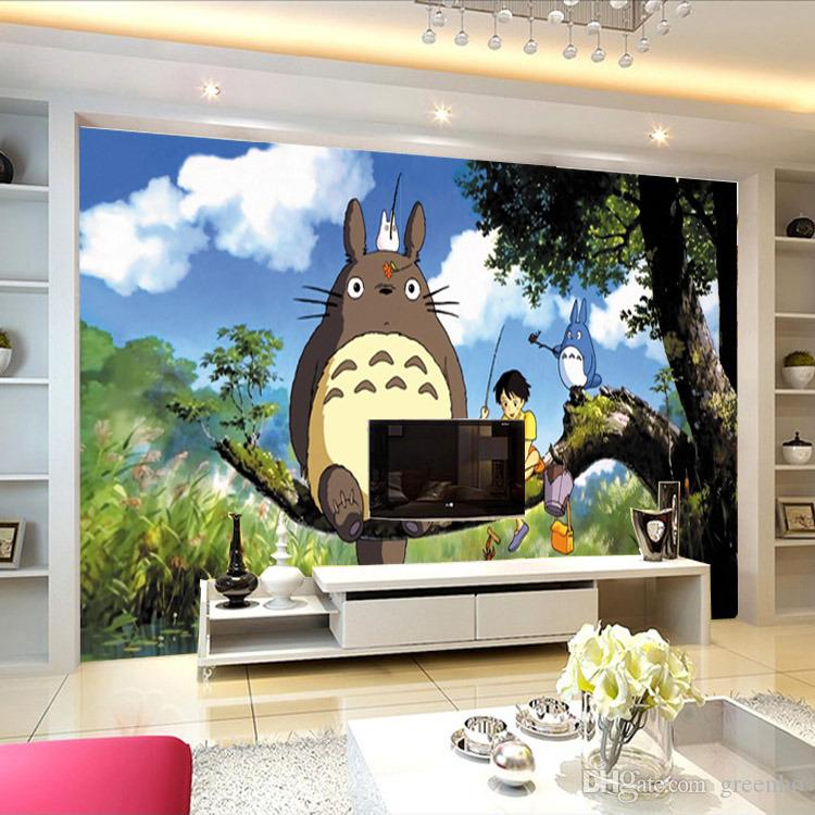 Cute japanese anime totoro wall mural silk wallpaper for Wide wallpaper home decor