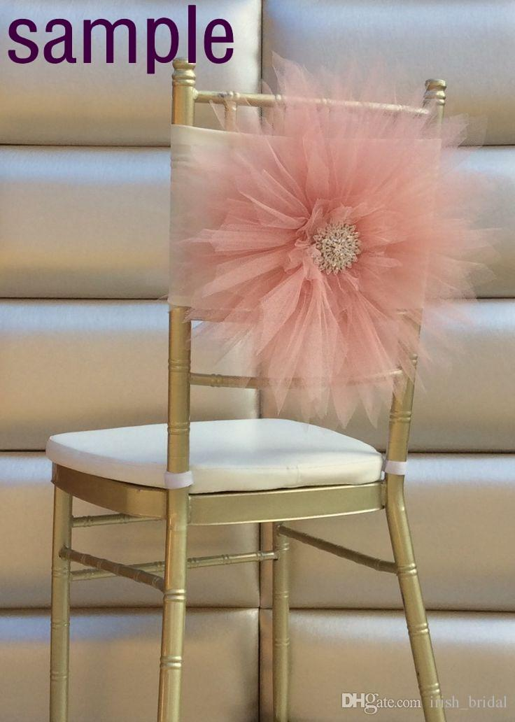 2015 Tulle 3D Flower Chair Sash Sample 2015 Wedding Accessories – Tulle Chair Bows