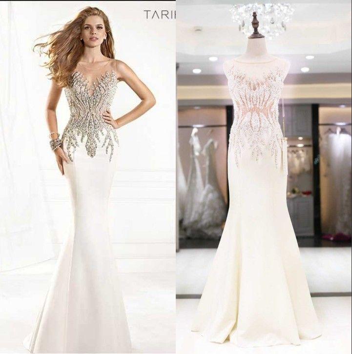 Tarik Ediz 2015 Pearl Evening Dresses Designers Sexy Sheer Bateau ...