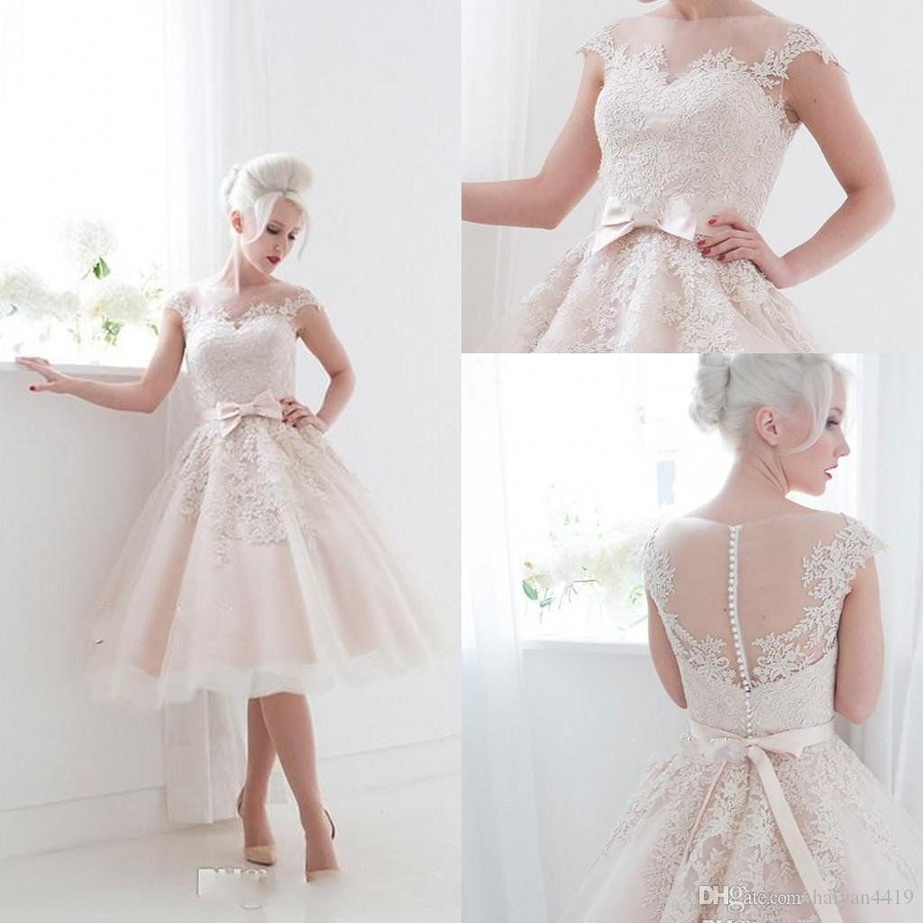 Discount 50 S Style Retro Wedding Dresses 2016 Illusion
