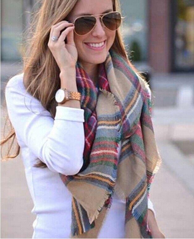 Christmas Party Price Lady Blanket Oversized Tartan Scarf Wrap Shawl Plaid Cozy Checked Pashmina corlorful autumn winter scarves