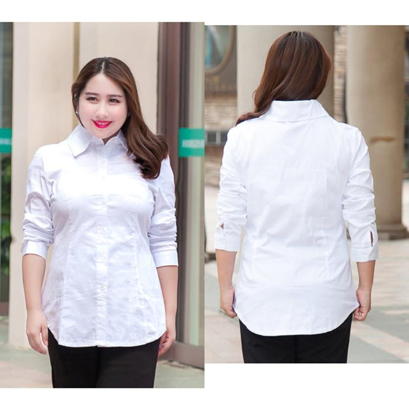Big Size Fat Women Office Shirt New Long Sleeve Tops Lady Shirts ...