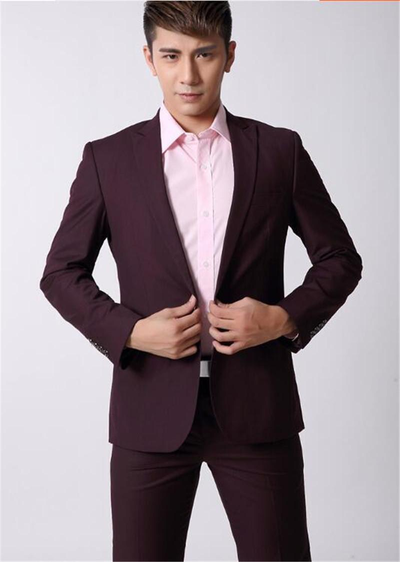 Wine Red Man'S Wedding Suit Men'S Business Casual Men'S Cultivate ...