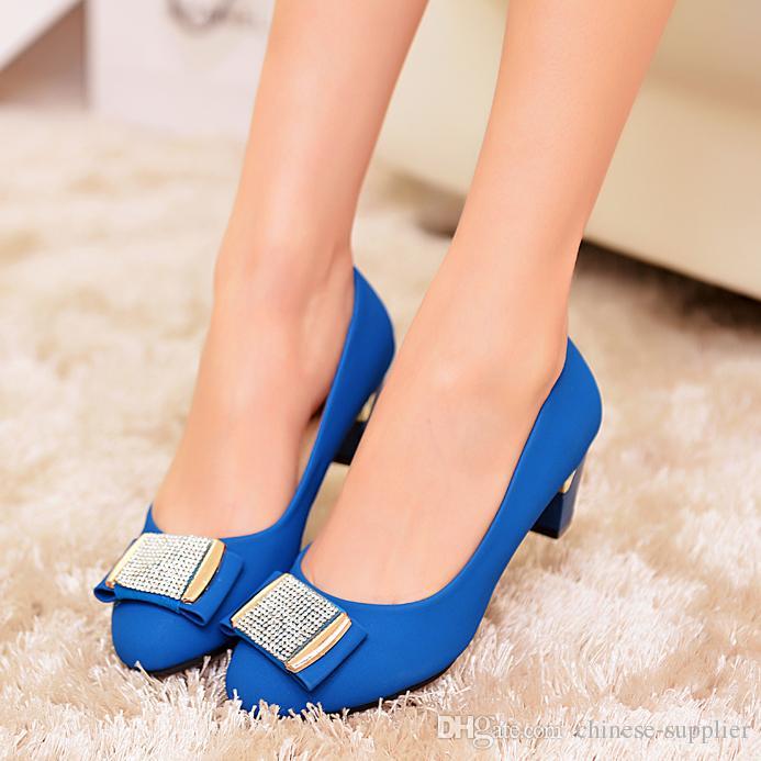 2015 Promotion Fashion Women Blue High Heels Round Toe Kitten Heel