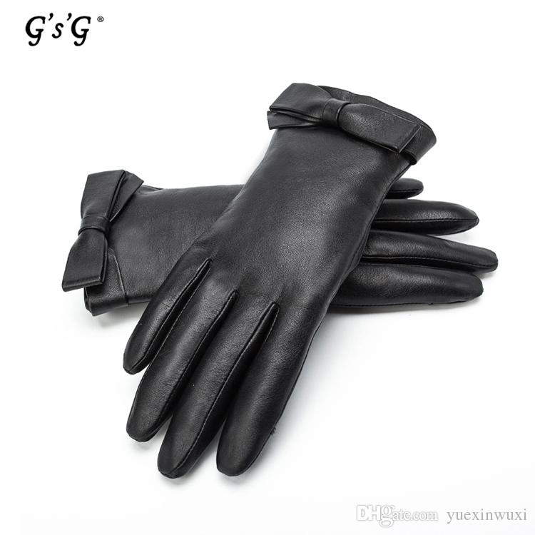 2017 cute girls black leather glove with bow tie womens