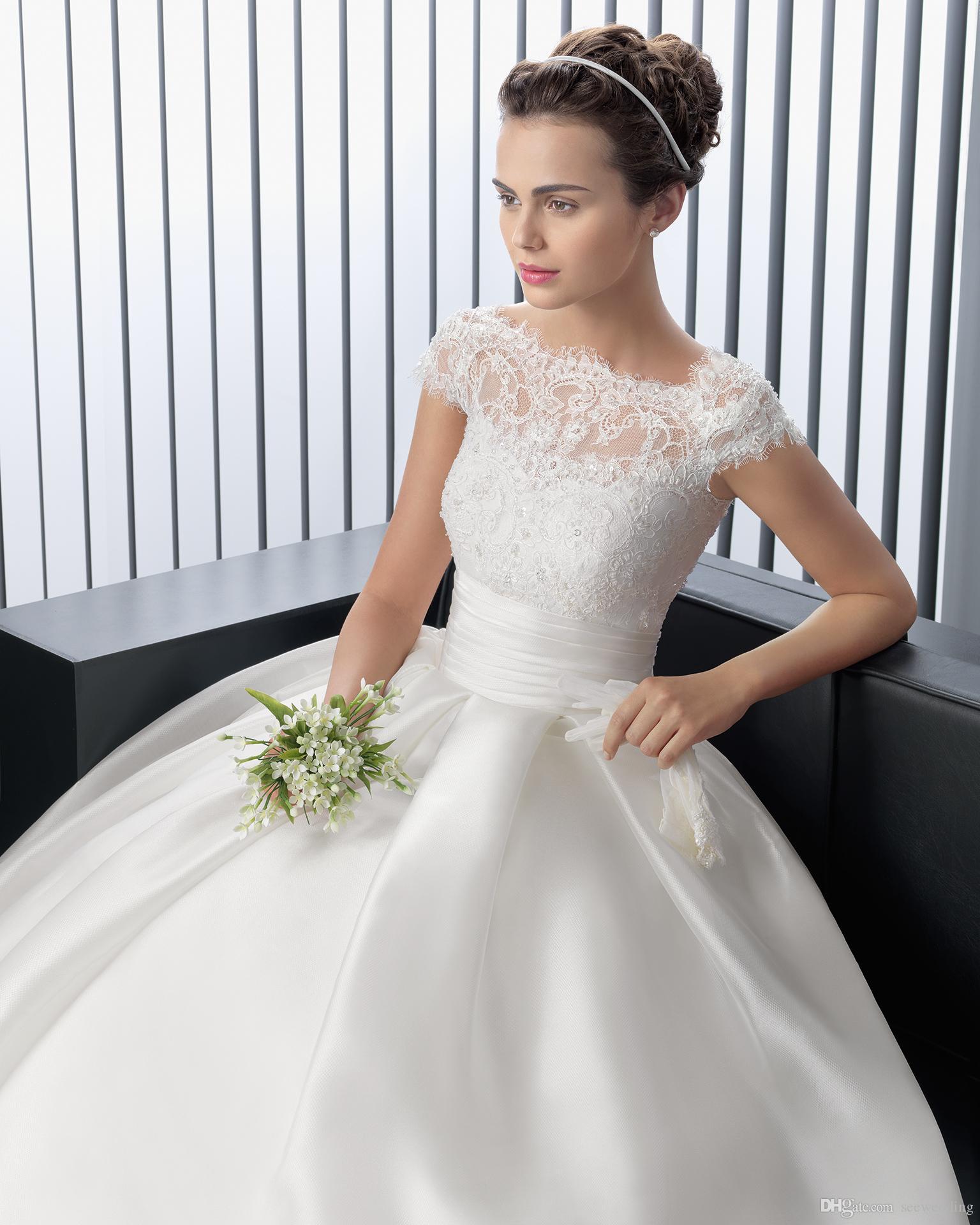 Оптом - 2015 элегантные и простые свадебные платья винтажные кружева Бато шеи Cap рукава глубокий V