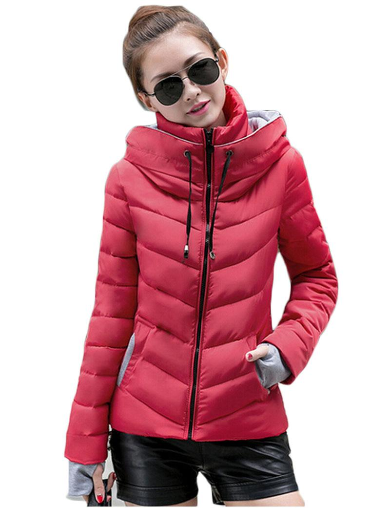 womens winter jackets and coats ladies parka manteau femme wine red yellow green girls solid color - Manteau Femme Color