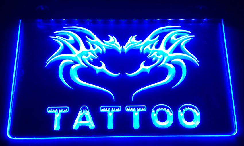 Ls013 b tattoo open neon light sign light signs online for Neon tattoo signs
