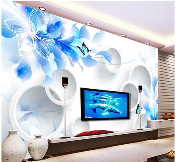 Customize simple 3d flowers wallpaper wall sticker for Mural 3d simple