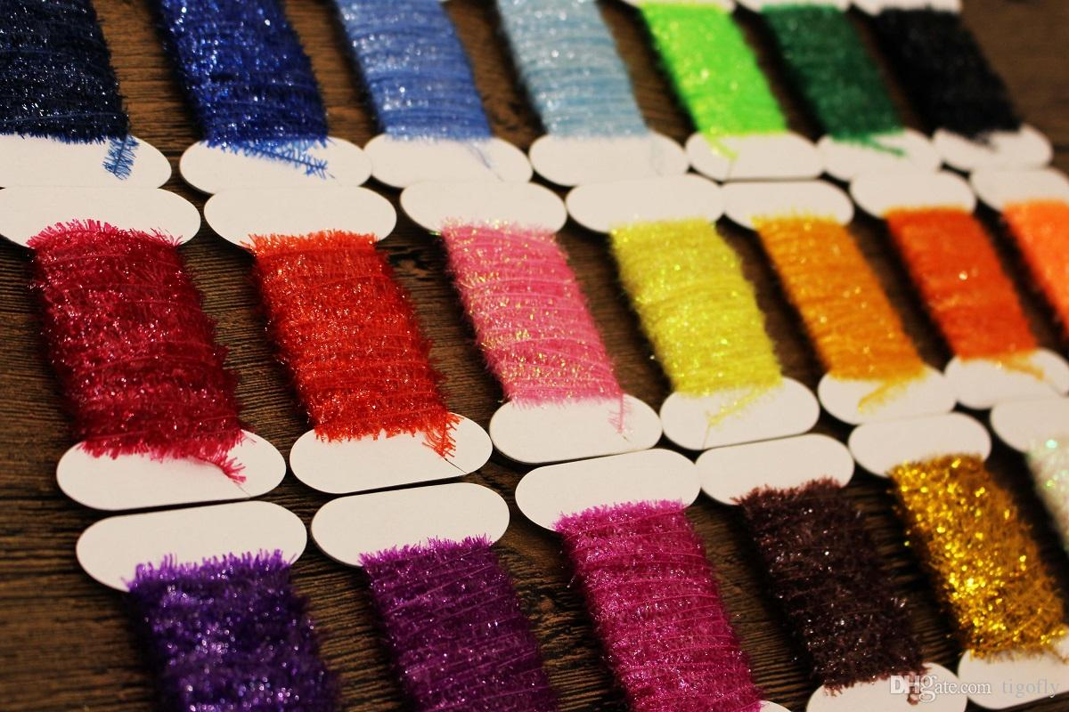 100M Assortiment de 10 couleurs Tinsel Chenille Crystal Flash Line Fly Tying Mat