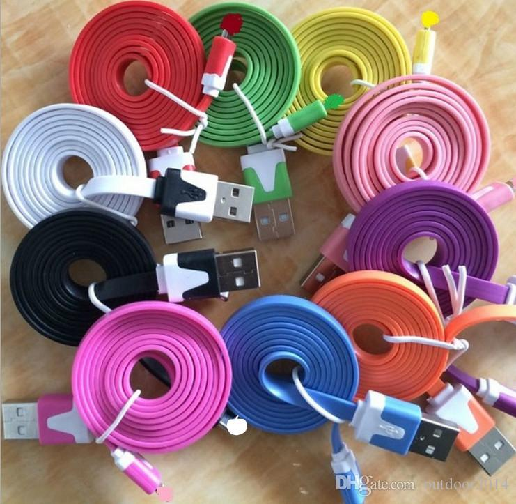 1lot 1M (3 ft) Micro usb cable usb Haute qualité Noodle Flat 2.0 usb cable phone