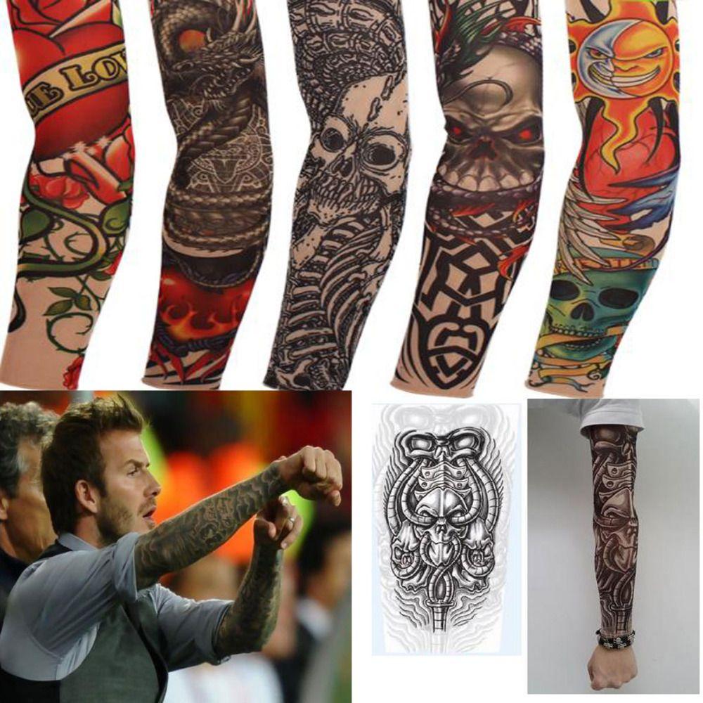 Punk fake new mixed 100 nylon elastic fake temporary for Temporary arm tattoos