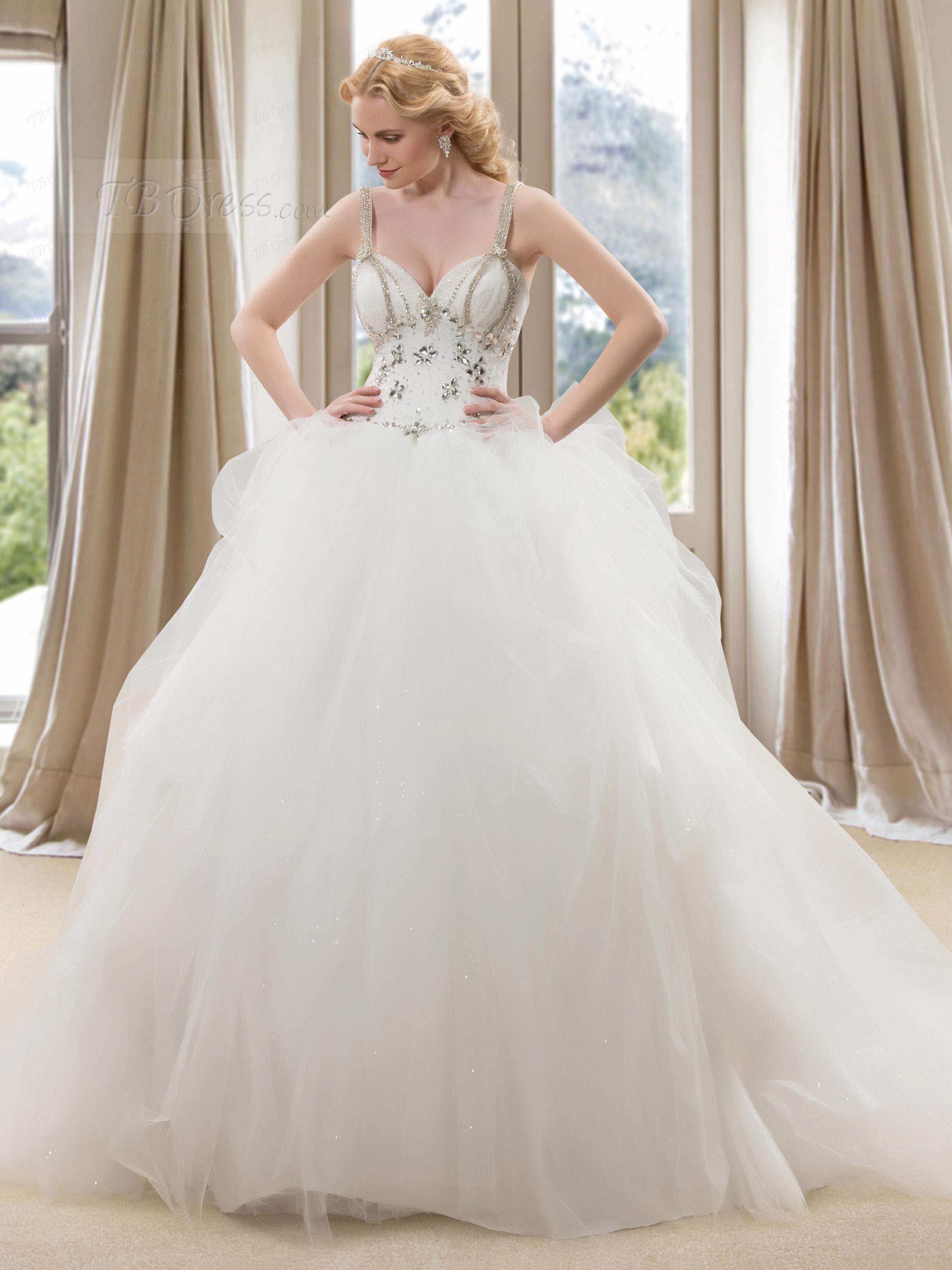 Bling cinderella wedding dresses spaghetti mermaid ruffles for Plus size bling wedding dresses