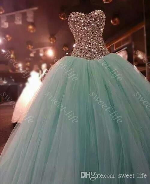 Real Pictures 2015 Ball Gown Quinceanera Dresses Mint Green ...
