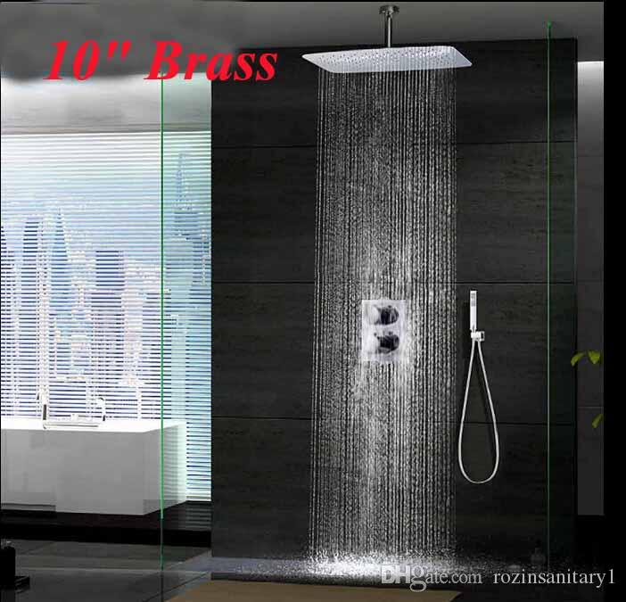 New Chrome 10 Ceiling Mounted Rainfall Shower Head Thermostatic Mixer 2  Handles Shower Faucet Chrome Shower Online with $228.42/Piece