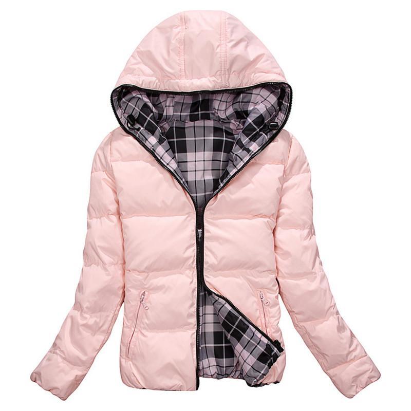 Woman Winter Coat Down Jacket Double-Sided Outwear Zipper Hooded ...