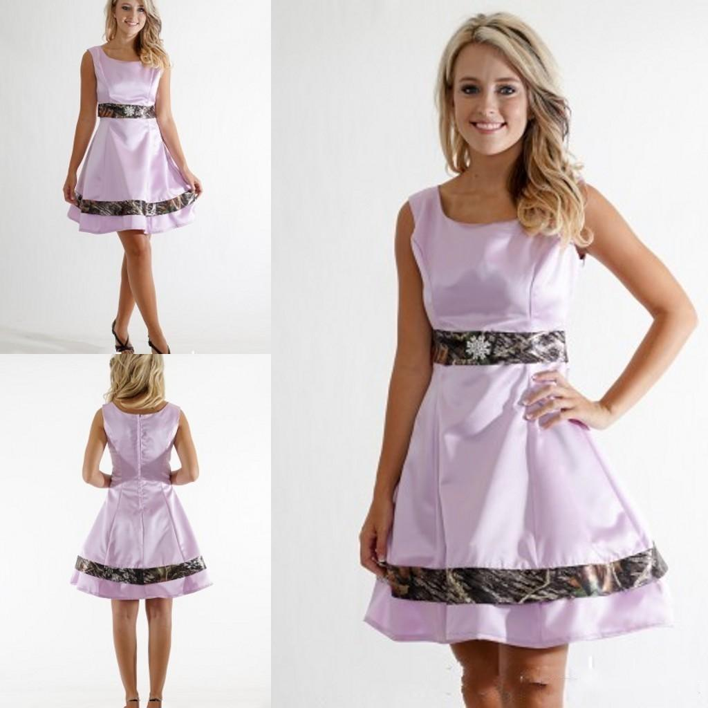 2016 New Pink Camo Short Bridesmaid Dresses Cheap Scoop