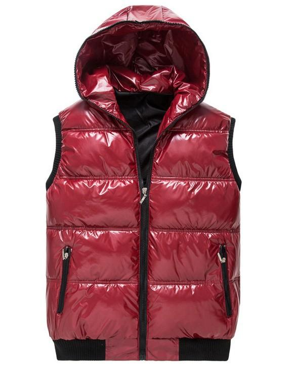 Winter Men Hooded Down Vest Glossy Coated Cotton Sleeveless Jacket ...