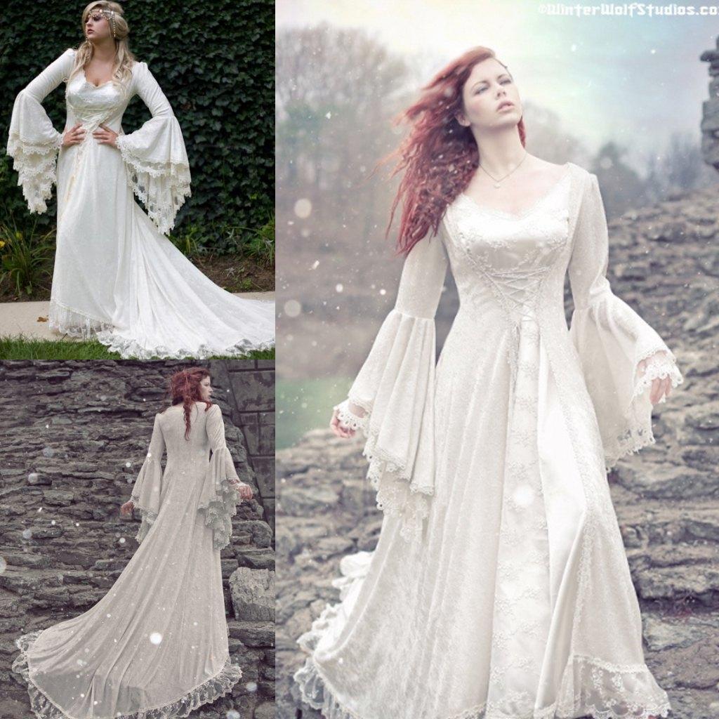 Discount Charming Gothic Wedding Dresses A Line V Neck