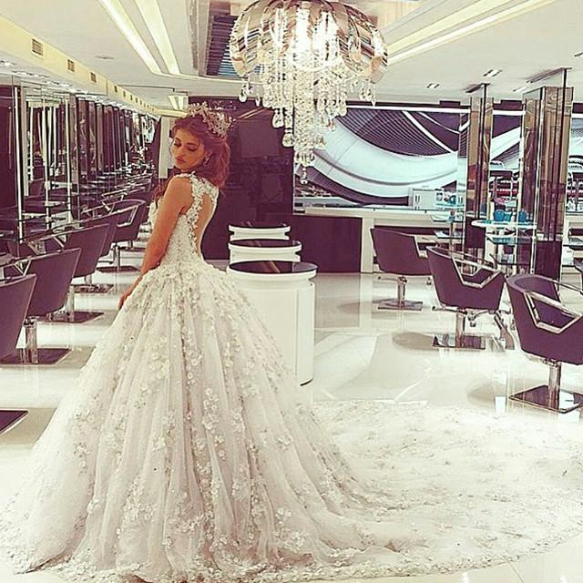 2016 custom made lace applique bateau cap sleeve ball gown for Lace wedding dress instagram